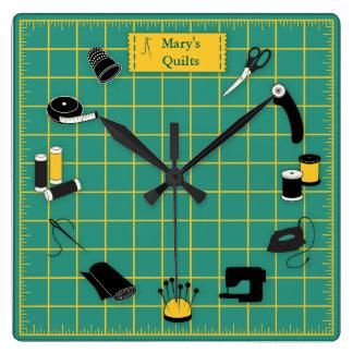 Personalizar del tiempo del edredón la etiqueta reloj cuadrado