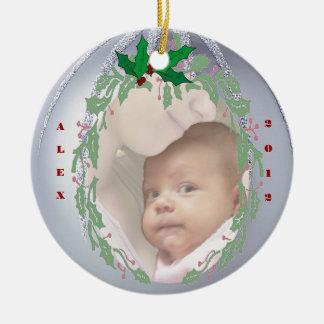 Personalizar delicioso él - 1r navidad de Babys Adorno Redondo De Cerámica