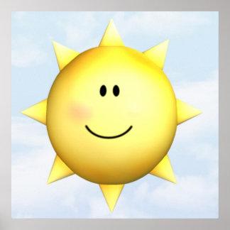 Personalizar feliz mural de la sol 23x23 de la car poster
