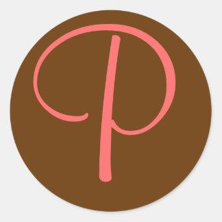 """Personalizar inicial de la letra """"P"""" del monograma Pegatina Redonda"""