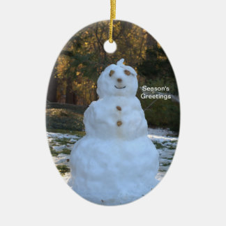PERSONALIZAR reversible del muñeco de nieve y del Adorno Navideño Ovalado De Cerámica