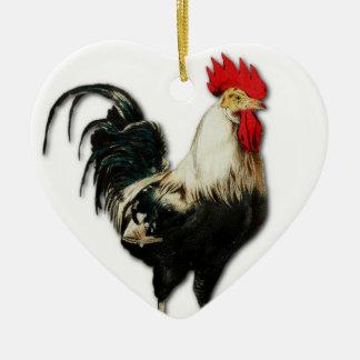 Personalizar rojo del pollo del gallo adorno de cerámica en forma de corazón