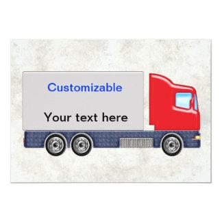Personalizar rojo y gris del camión de reparto invitación 12,7 x 17,8 cm