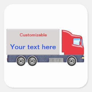 Personalizar rojo y gris del camión de reparto pegatina cuadrada