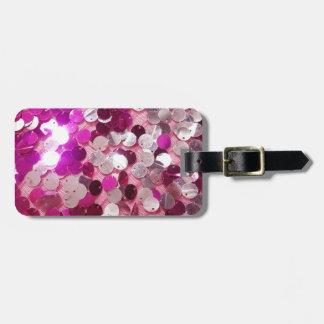 Personalizar rosado de la moda de las chispas de l etiquetas maletas