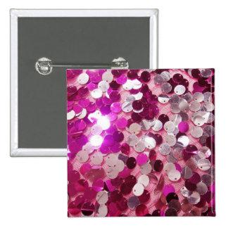 Personalizar rosado de la moda de las chispas de l pin cuadrado