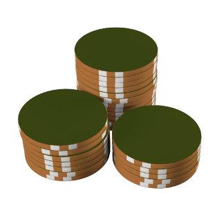Personalizar verde del color de fondo del caqui juego de fichas de póquer