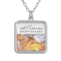 Personalize, 10th Ordination Anniversary, Cross Silver Plated Necklace
