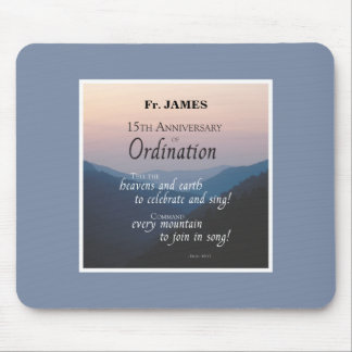 Personalize 15th Anniversary Ordination Congrats Mouse Pad