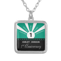 Personalize, 1st Year Employee Anniversary Silver Plated Necklace