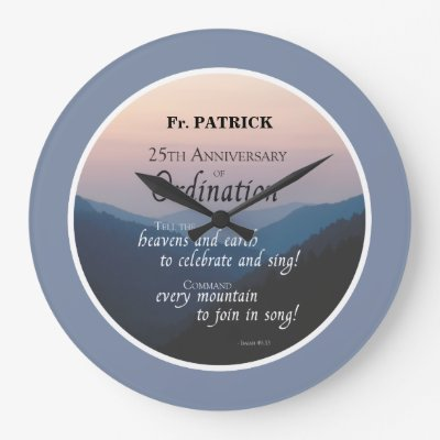 Personalize 25th Anniversary Ordination Congrats Large Clock