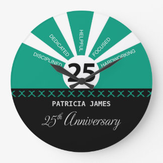 Personalize, 25th Year Employee Anniversary Large Clock