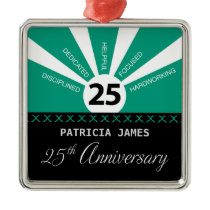 Personalize, 25th Year Employee Anniversary Metal Ornament