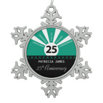 Personalize, 25th Year Employee Anniversary Snowflake Pewter Christmas Ornament
