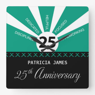 Personalize, 25th Year Employee Anniversary Square Wall Clock
