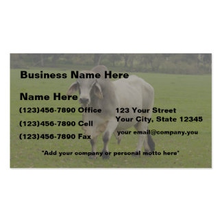 Personalize-2 Sided-Brahman Bull in Field Business Card Template