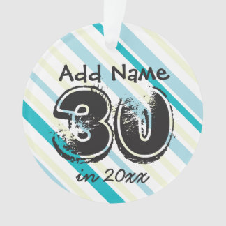 Personalize 30th Birthday Blue Green Ornament