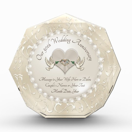 Wedding Anniversary Gifts For Wife: Personalize 30th Wedding Anniversary Gift For Wife