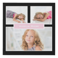 Personalize 3 Photo Black White Pink Collage Faux Canvas Print
