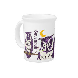 Personalize 3 Purple Owls Moon and Stars Drink Pitcher