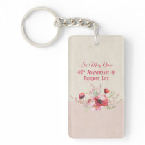 Personalize, 40th Anniversary Nun, Pink and Keychain