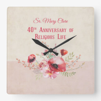 Personalize, 40th Anniversary Nun, Pink and Square Wall Clock