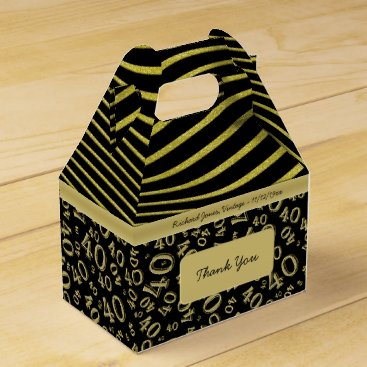 Beach Themed Personalize:  40th Birthday Gold and Black Theme Favor Box