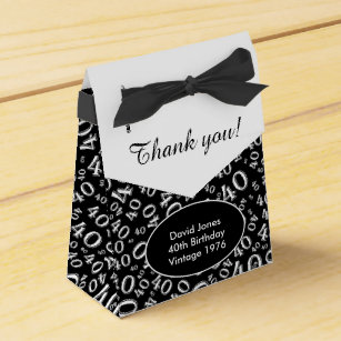 Personalize 40th Birthday Theme Black White Favor Box