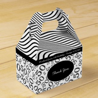 Personalize:  50th Birthday Black and White Theme Favor Box