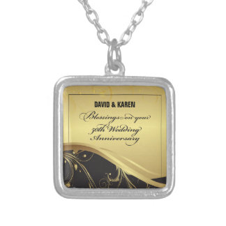 Personalize, 50th Wedding Anniversary Religious Silver Plated Necklace