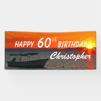 Personalize 60th Birthday Sign Fishing Boat Sunset