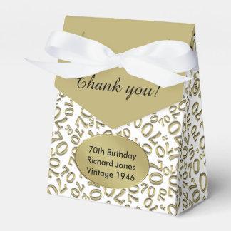 Personalize: 70th Birthday Gold/white Favor Box