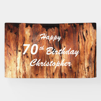 Personalize 70th Birthday Sign Faux Weathered Wood Banner