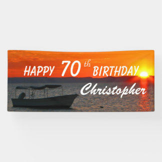Personalize 70th Birthday Sign Fishing Boat Sunset
