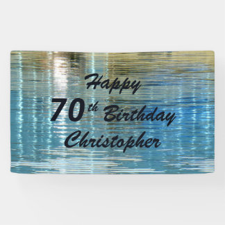 Personalize 70th Birthday Sign Reflection in Lake