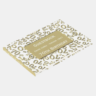 Personalize: 70th Birthday White/Gold 70 Pattern Guest Book