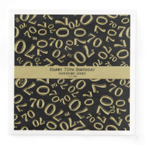 Personalize:  70th Black and Gold Birthday Party Paper Dinner Napkin
