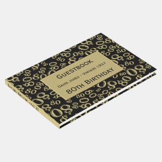 Personalize: 80th Birthday Black/Gold 80 Pattern Guest Book