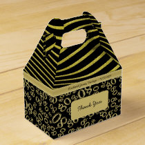 Personalize:  80th Birthday Gold and Black Theme Favor Box