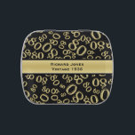 """Personalize:  80th Birthday Party Favor Jelly Belly Tin<br><div class=""""desc"""">Easily personalize 80th party favor with the supplied text template. This design is a gold and black abstract background of the number eighty (80) repeated in varied sizes and angles in an all-over typography print. There is a gold band with a text template to change to your own words, name...</div>"""