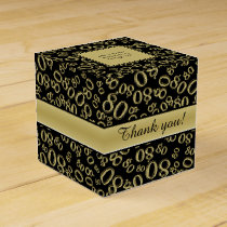 Personalize: 80th Birthday Party Gold/Black Favor Box