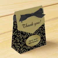 Personalize: 80th Birthday Theme Gold/Black Favor Box