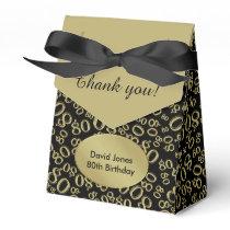 Personalize: 80th Birthday Theme Gold/Black Favor Box