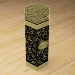 """Personalize: 90th Birthday Gold/Black Party Theme Wine Gift Box<br><div class=""""desc"""">Easily personalize the text on this gold and black 90th birthday theme with the templates supplied. This design on the bottom is a gold and black abstract background of the number ninety (90) repeated in varied sizes and angles in an all-over typography print. The top is abstract wavy stripes. There...</div>"""