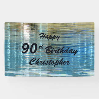 Personalize 90th Birthday Sign Reflection in Lake