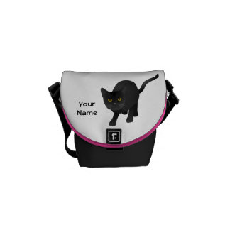 Personalize a cute Black Cat Messenger Bag