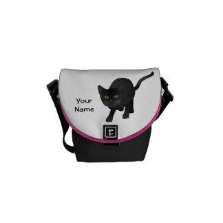 Personalize a cute Black Cat Messenger Bags