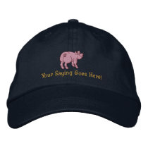 Personalize A Cute Little Pig with Your Text Embroidered Baseball Hat