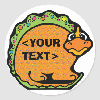 Personalize a Dinosaur, <YOUR TEXT> Classic Round Sticker