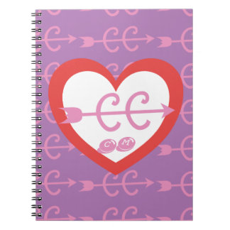 Personalize a Monogram Love Cross Country Running Notebook